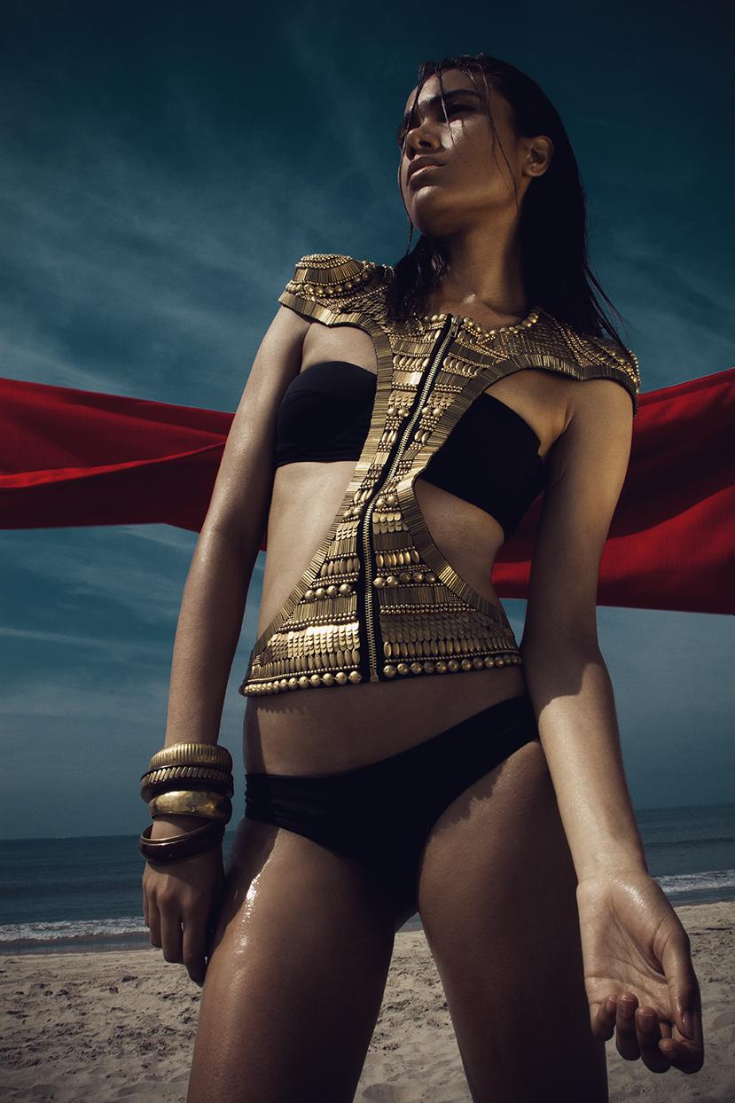 Triangl black bikini  Mikoh white mesh dress  stylist's own belt