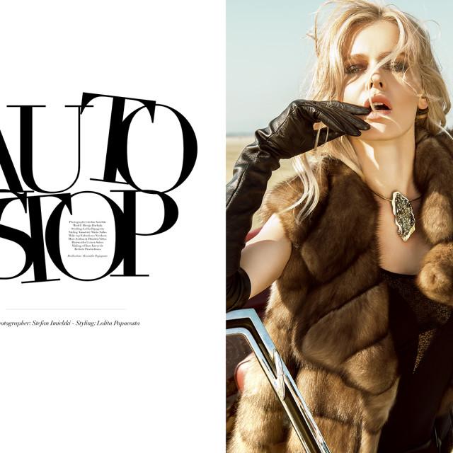 Sable vest: Avanti,; body: Lise Charmel; trousers: Trussardi Jeans; necklace: Maison  Anna Dorothea; leather gloves: Micillo.