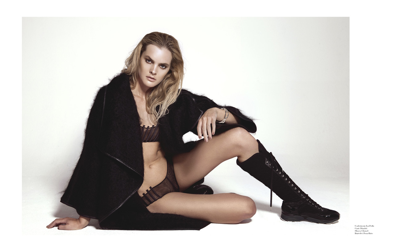 Underwear: La Perla  Coat: Dimitri  Shoes: Chanel  Bracelet: Pomellato