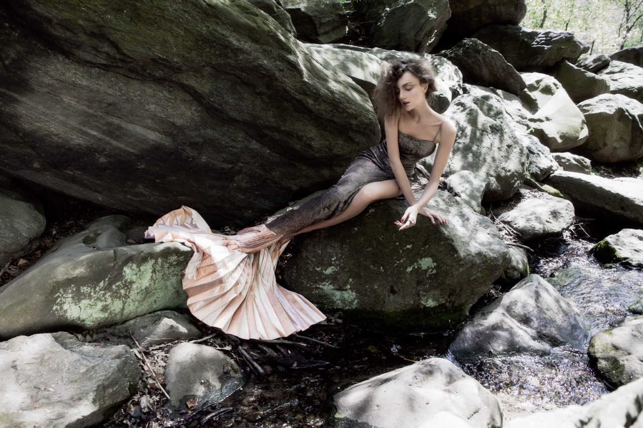 Dress and skirt as a tail - Maria Lucia Hohan. Ring - Solomeina.