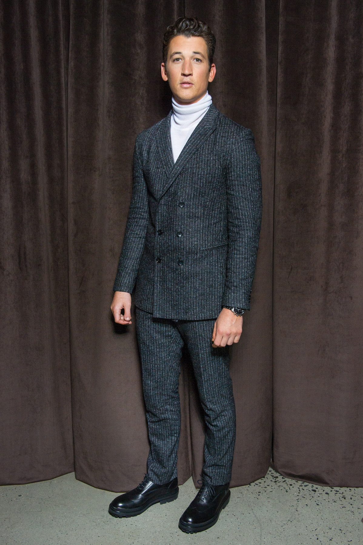 Miles Teller in HUGO BOSS at the BOSS Menswear Fall/Winter 2017 collection presentation
